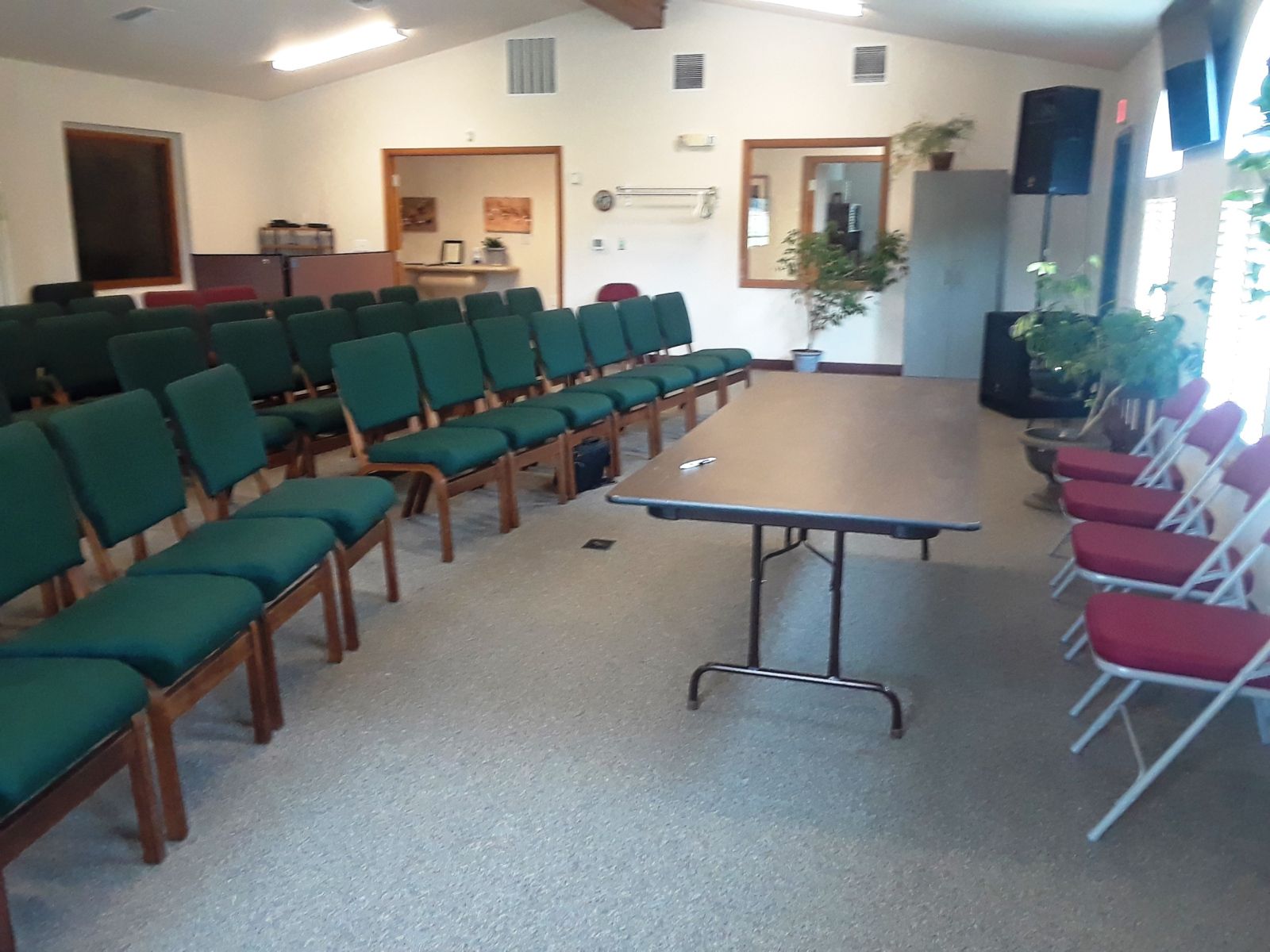 Set up in main room pointing to main entrance hallway